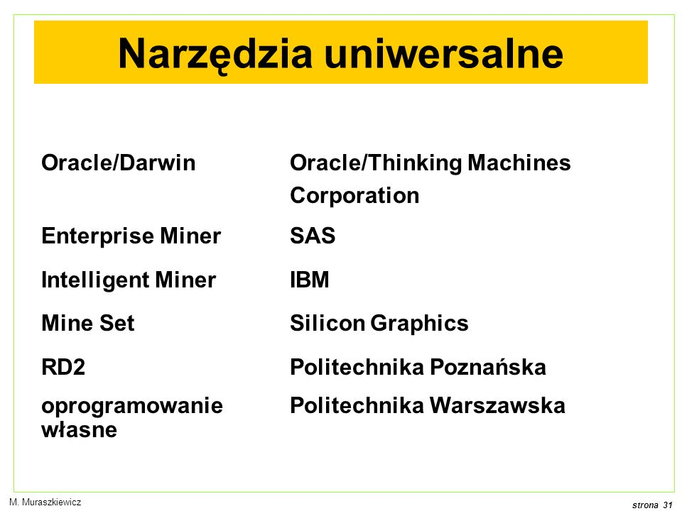 strona 31 M. Muraszkiewicz Narzędzia uniwersalne Oracle/DarwinOracle/Thinking Machines Corporation Enterprise MinerSAS Intelligent MinerIBM Mine SetSi