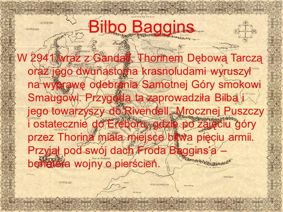 Bilbo Baggins W 2941 wraz z Gandalf, Thorinem Dębową Tarczą oraz jego dwunastoma krasnoludami wyruszył na wyprawę odebrania Samotnej Góry smokowi Smaugowi.