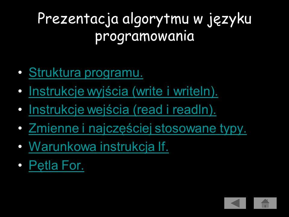 Prezentacja algorytmu w języku programowania Aby przedstawić algorytm w postaci programu, trzeba go napisać jako ciąg instrukcji języka programowania.