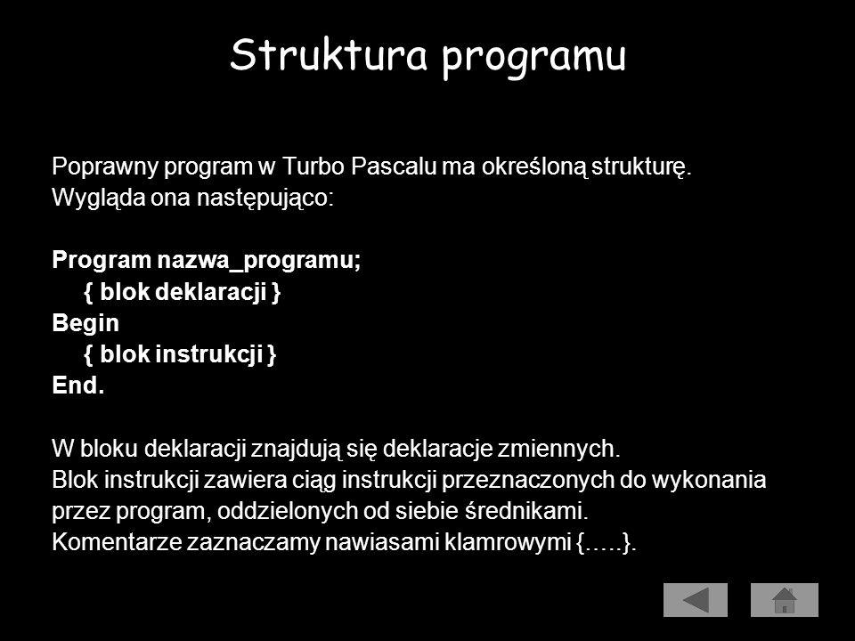 Prezentacja algorytmu w języku programowania Struktura programu. Instrukcje wyjścia (write i writeln). Instrukcje wejścia (read i readln). Zmienne i n