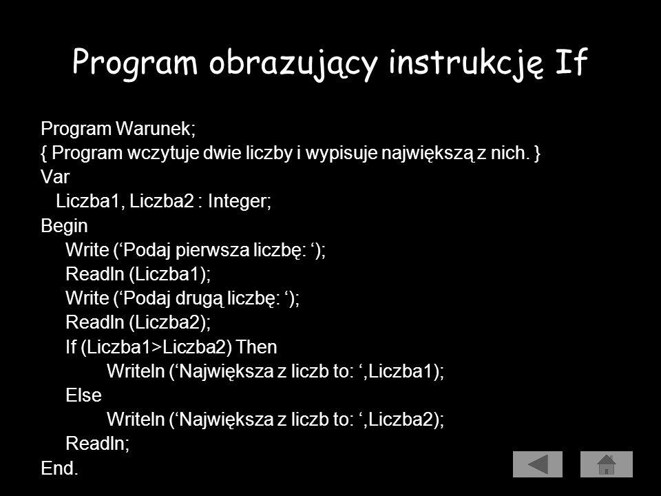 Warunkowa instrukcja If Program wczytuje dwie liczby i wypisuje największą z nich. Algorytm Kod źródłowy Uruchomienie programu