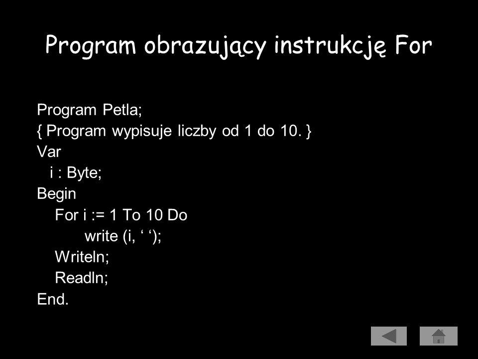 Pętla For Program wypisuje na ekranie liczby od 1 do 10. Algorytm Kod źródłowy Uruchomienie programu
