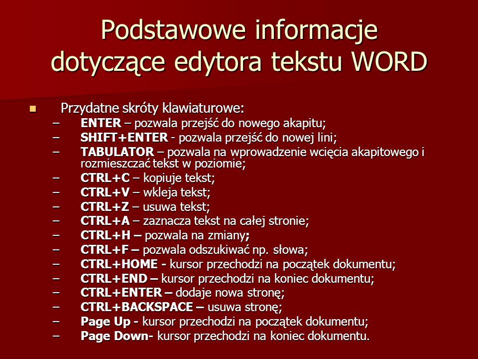 Podstawowe informacje dotyczące edytora tekstu WORD Przydatne skróty klawiaturowe: Przydatne skróty klawiaturowe: –ENTER – pozwala przejść do nowego a