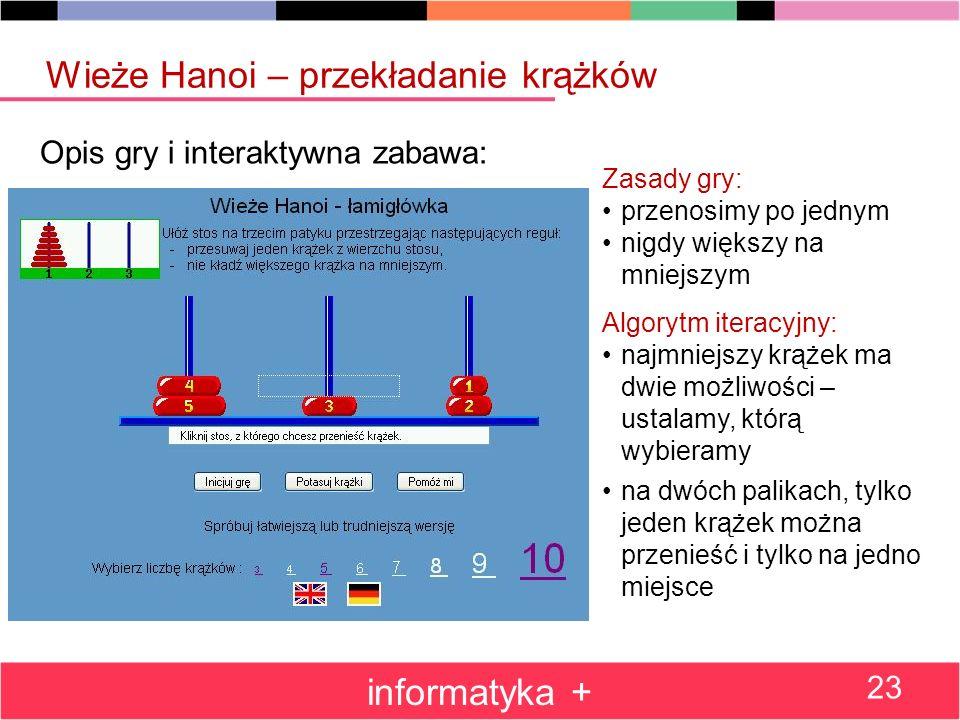Opis gry i interaktywna zabawa: Wieże Hanoi – przekładanie krążków informatyka + 23 Zasady gry: przenosimy po jednym nigdy większy na mniejszym Algory