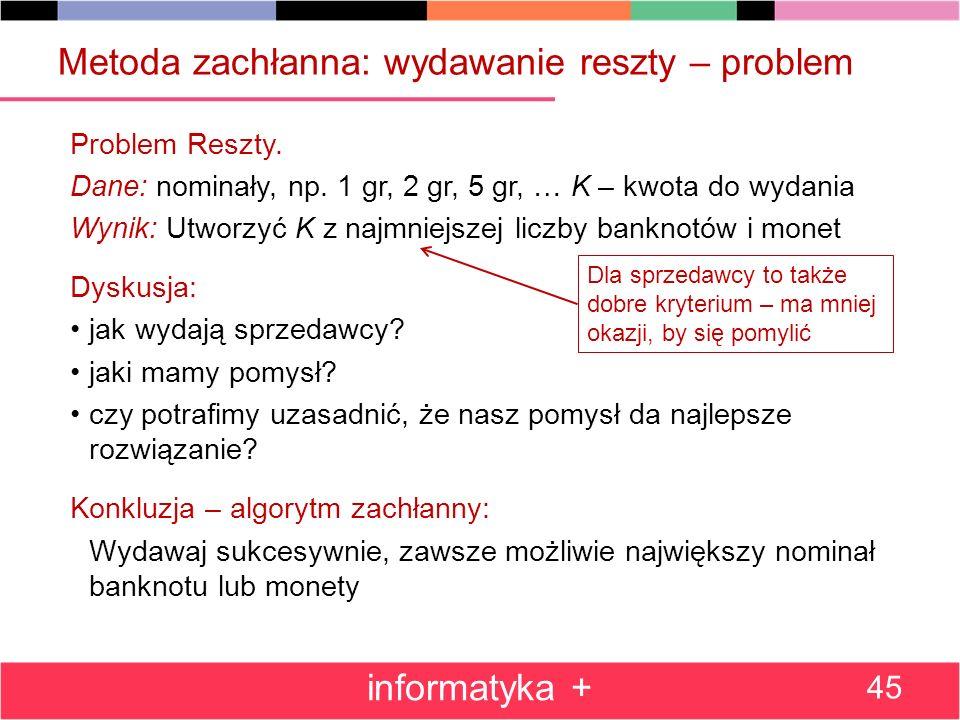Metoda zachłanna: wydawanie reszty – problem Problem Reszty. Dane: nominały, np. 1 gr, 2 gr, 5 gr, … K – kwota do wydania Wynik: Utworzyć K z najmniej