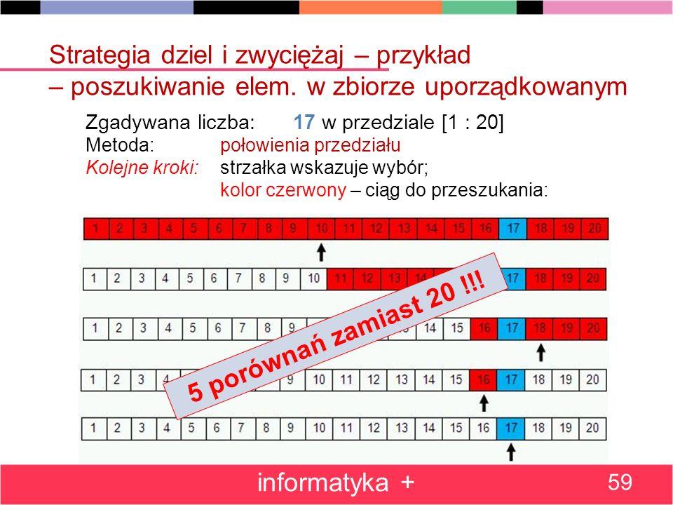 informatyka + 59 Zgadywana liczba: 17 w przedziale [1 : 20] Metoda: połowienia przedziału Kolejne kroki: strzałka wskazuje wybór; kolor czerwony – cią