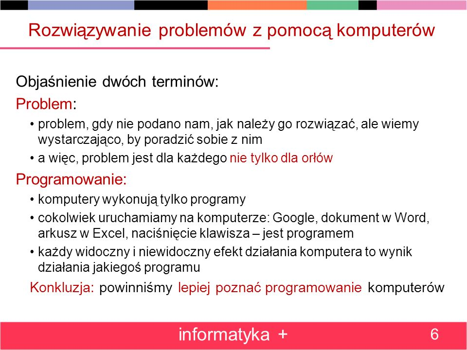 Metoda zachłanna: wydawanie reszty – program Program Zachlanna_reszta_PL; var i,ile,kwota_int:integer; kwota :real; nominal:array[1..14] of integer =(20000,10000,5000,2000,1000,500,200,100,50,20,10,5,2,1); reszta :array[1..14] of integer; begin write( kwota ); read(kwota); kwota_int:=round(kwota*100); for i:=1 to 14 do begin ile:=kwota_int div nominal[i]; reszta[i]:=ile; kwota_int:=kwota_int-ile*nominal[i] end; for i:=1 to 8 do writeln(nominal[i] div 100, zl.: ,reszta[i]); for i:=9 to 14 do writeln(nominal[i], gr.: ,reszta[i]) end.