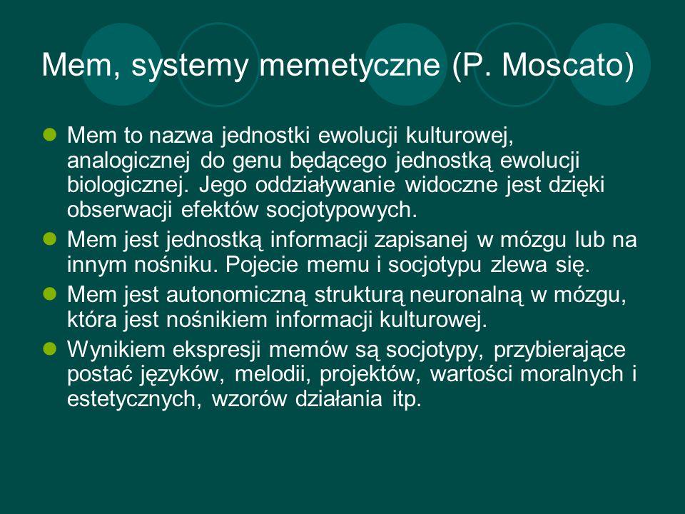 Mem, systemy memetyczne (P. Moscato) Mem to nazwa jednostki ewolucji kulturowej, analogicznej do genu będącego jednostką ewolucji biologicznej. Jego o