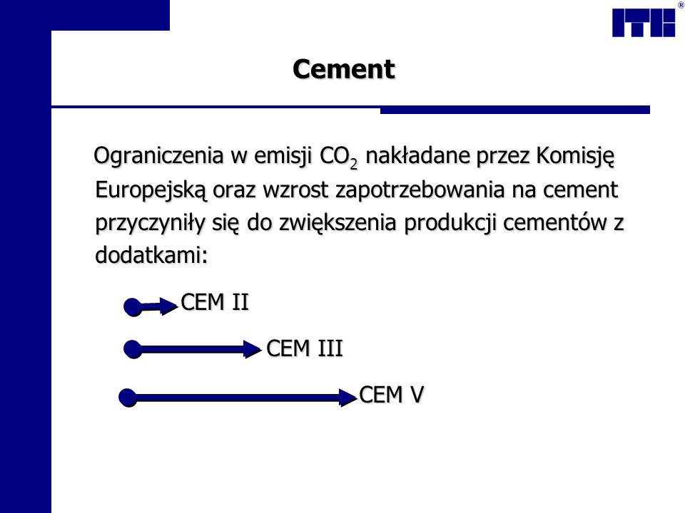 Cement Ograniczenia w emisji CO 2 nakładane przez Komisję Europejską oraz wzrost zapotrzebowania na cement przyczyniły się do zwiększenia produkcji ce