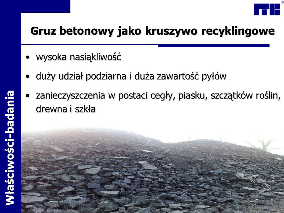 Wpływ kruszywa recyklingowego na właściwości betonu Badana cechaWzorzec Beton recyklingowy KonsystencjaS 3S 1 Nasiąkliwość, %4,295,36 Głębokość penetracji wody pod ciśnieniem 4,31,5 Skurcz liniowy, mm/m0,420,62 Stopień mrozoodpornościF 300F 200 Wyniki badań