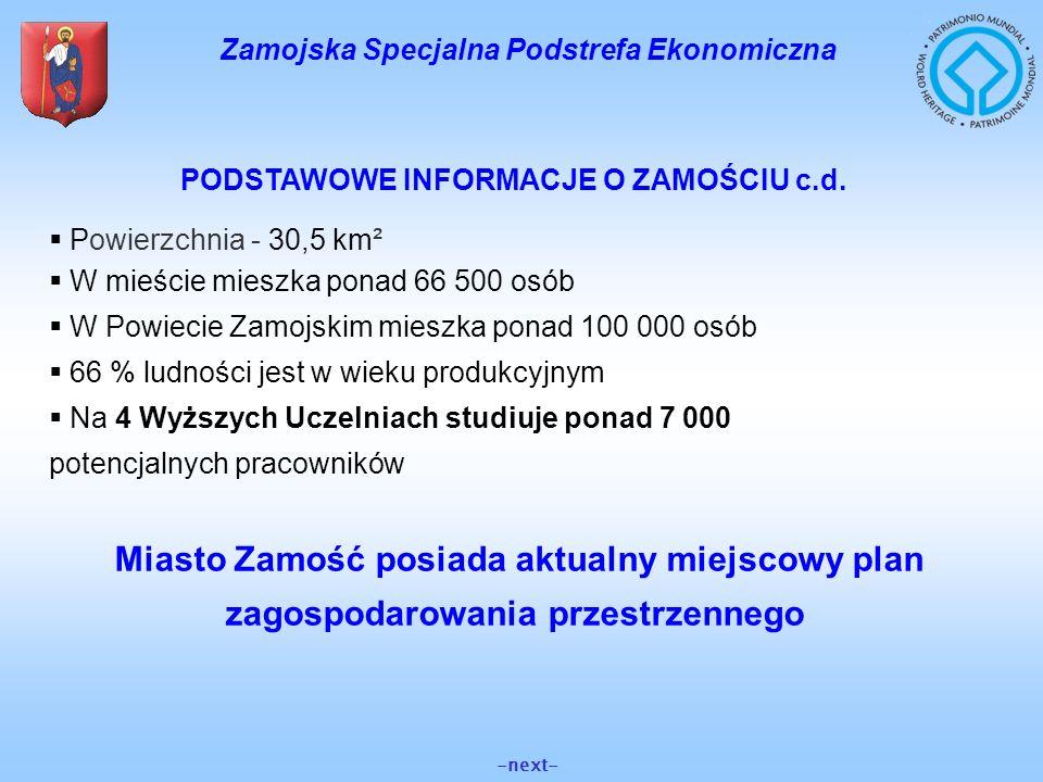 Zamojska Specjalna Podstrefa Ekonomiczna PODSTAWOWE INFORMACJE O ZAMOŚCIU c.d. Powierzchnia - 30,5 km² W mieście mieszka ponad 66 500 osób W Powiecie
