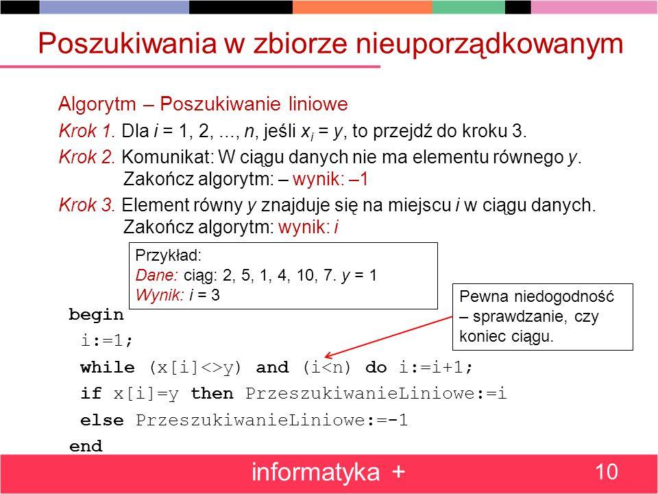 Poszukiwania w zbiorze nieuporządkowanym Algorytm – Poszukiwanie liniowe Krok 1. Dla i = 1, 2,..., n, jeśli x i = y, to przejdź do kroku 3. Krok 2. Ko