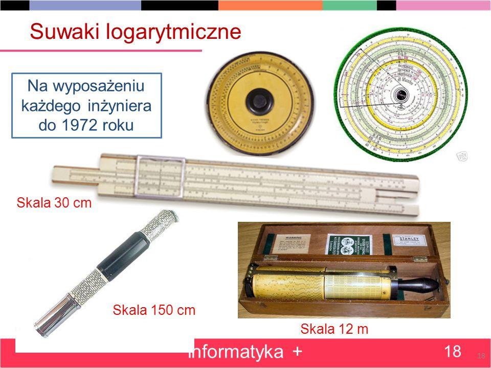 Suwaki logarytmiczne informatyka + 18 Na wyposażeniu każdego inżyniera do 1972 roku Skala 30 cm Skala 150 cm Skala 12 m 18