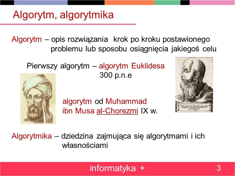 Algorytm, algorytmika Algorytm – opis rozwiązania krok po kroku postawionego problemu lub sposobu osiągnięcia jakiegoś celu Pierwszy algorytm – algorytm Euklidesa 300 p.n.e algorytm od Muhammad ibn Musa al-Chorezmi IX w.