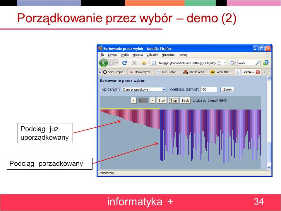 Porządkowanie przez wybór – demo (2) informatyka + 34 Podciąg już uporządkowany Podciąg porządkowany