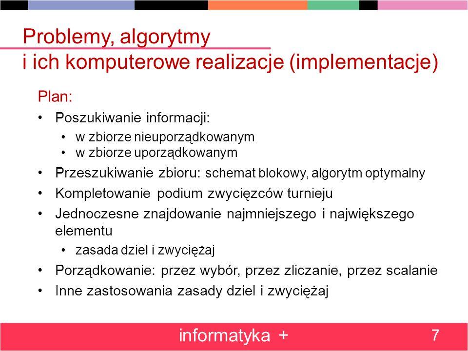 Problemy, algorytmy i ich komputerowe realizacje (implementacje) Plan: Poszukiwanie informacji: w zbiorze nieuporządkowanym w zbiorze uporządkowanym P