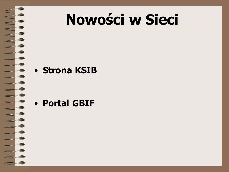 Nowości w Sieci Strona KSIB Portal GBIF