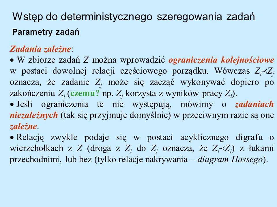Wstęp do deterministycznego szeregowania zadań Parametry zadań Zadania zależne: W zbiorze zadań Z można wprowadzić ograniczenia kolejnościowe w postac