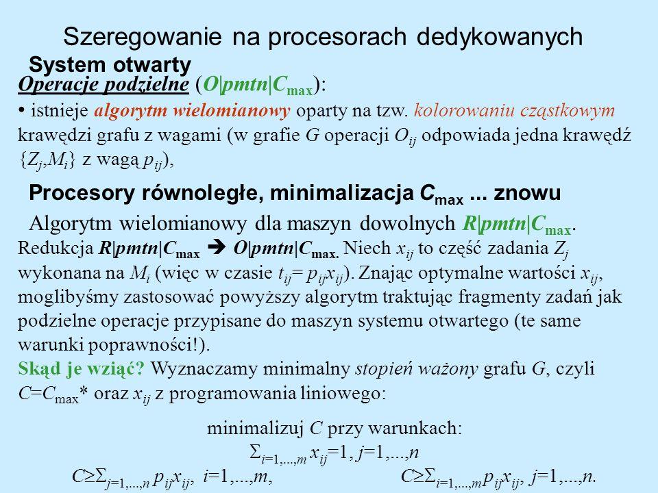 Szeregowanie na procesorach dedykowanych System otwarty Operacje podzielne (O pmtn C max ): istnieje algorytm wielomianowy oparty na tzw. kolorowaniu