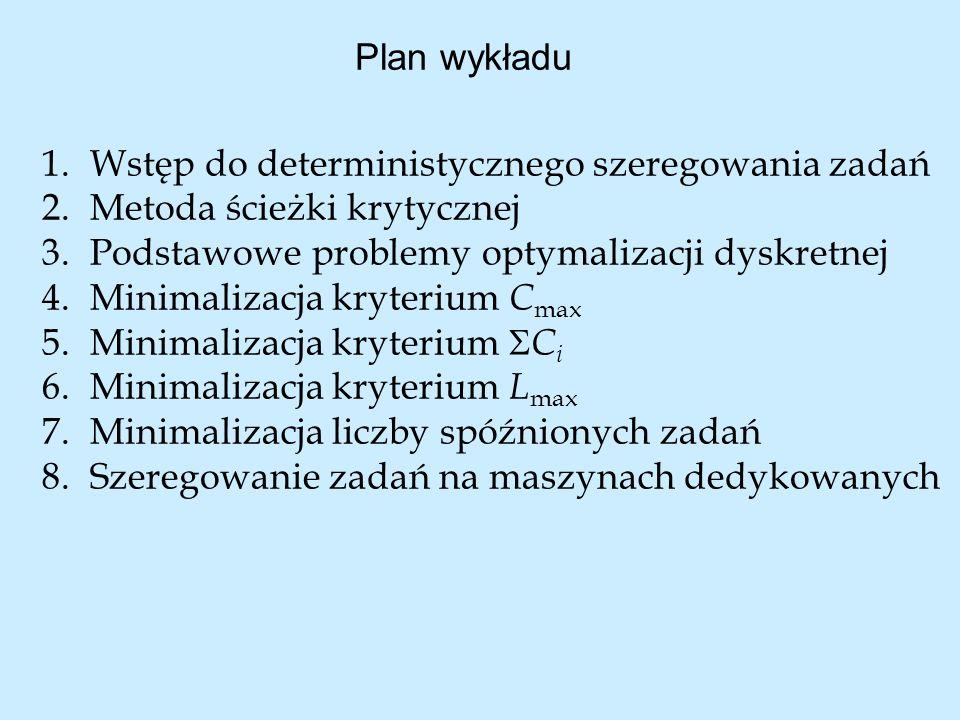 Plan wykładu 1.Wstęp do deterministycznego szeregowania zadań 2.Metoda ścieżki krytycznej 3.Podstawowe problemy optymalizacji dyskretnej 4.Minimalizac