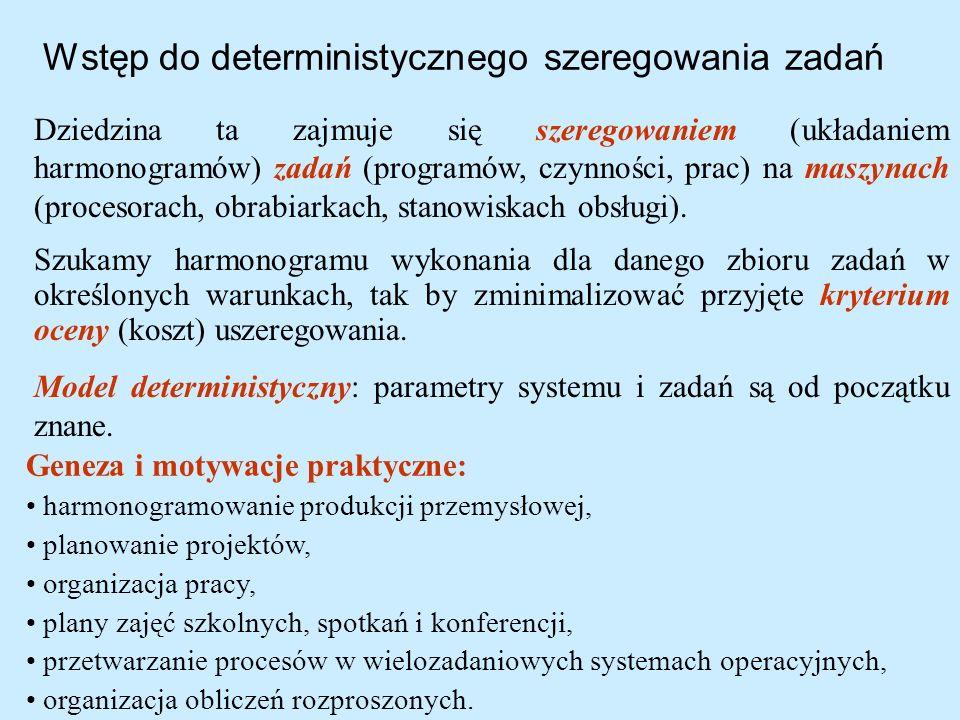 Wstęp do deterministycznego szeregowania zadań Dziedzina ta zajmuje się szeregowaniem (układaniem harmonogramów) zadań (programów, czynności, prac) na