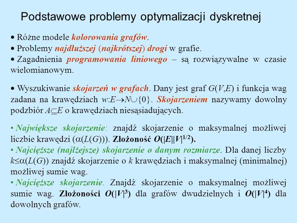 Podstawowe problemy optymalizacji dyskretnej Różne modele kolorowania grafów. Problemy najdłuższej (najkrótszej) drogi w grafie. Zagadnienia programow