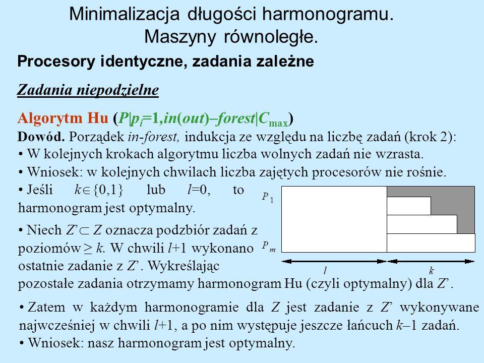Minimalizacja długości harmonogramu. Maszyny równoległe. Procesory identyczne, zadania zależne Zadania niepodzielne Algorytm Hu (P p i =1,in(out)–fore