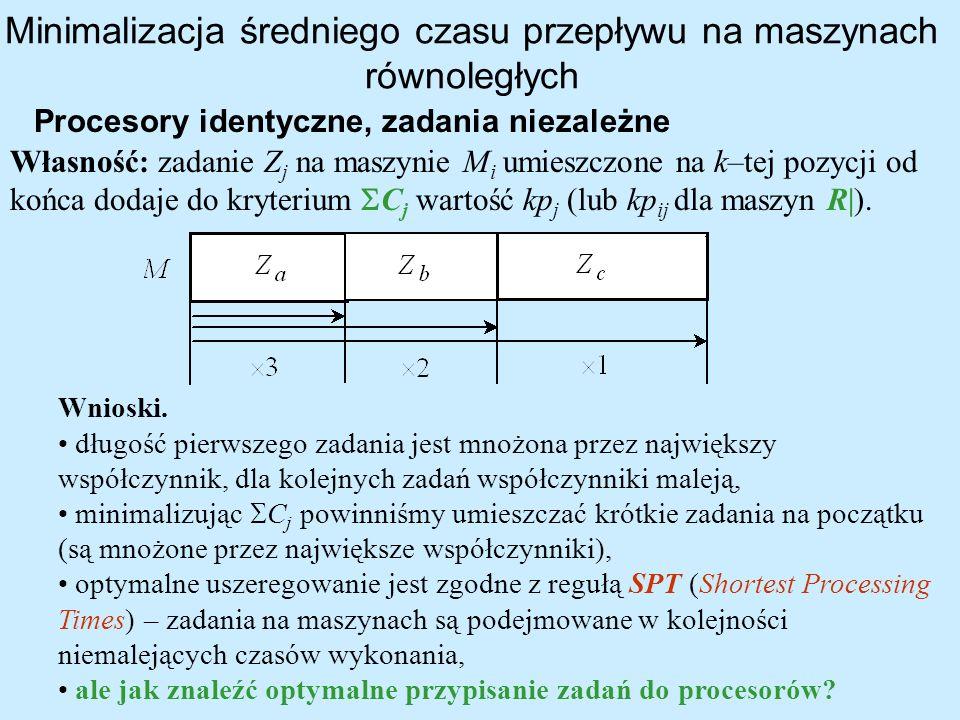 Minimalizacja średniego czasu przepływu na maszynach równoległych Procesory identyczne, zadania niezależne Wnioski. długość pierwszego zadania jest mn