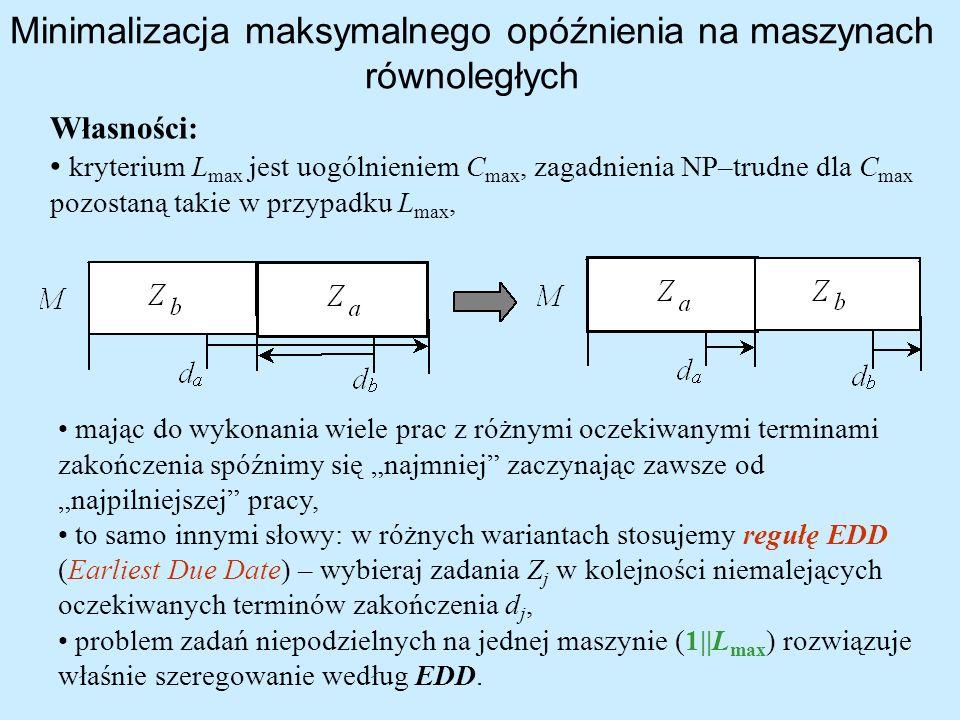 Minimalizacja maksymalnego opóźnienia na maszynach równoległych Własności: kryterium L max jest uogólnieniem C max, zagadnienia NP–trudne dla C max po