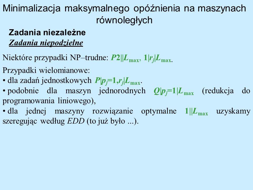 Minimalizacja maksymalnego opóźnienia na maszynach równoległych Niektóre przypadki NP–trudne: P2  L max, 1 r j  L max. Zadania niezależne Zadania niep