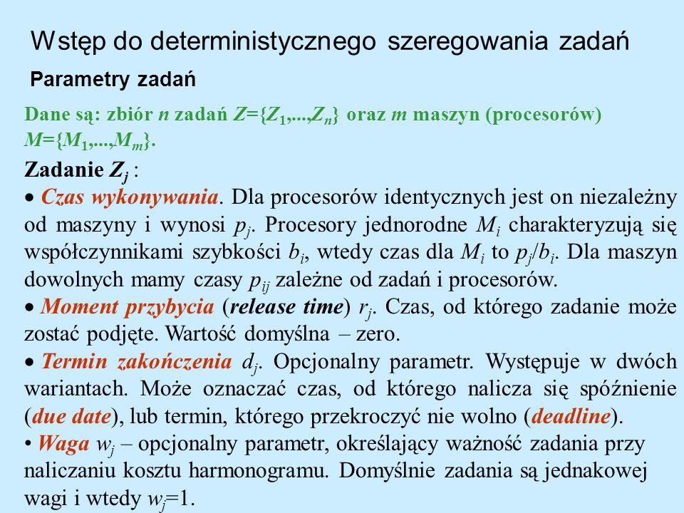 Wstęp do deterministycznego szeregowania zadań Parametry zadań Zadanie Z j : Czas wykonywania. Dla procesorów identycznych jest on niezależny od maszy