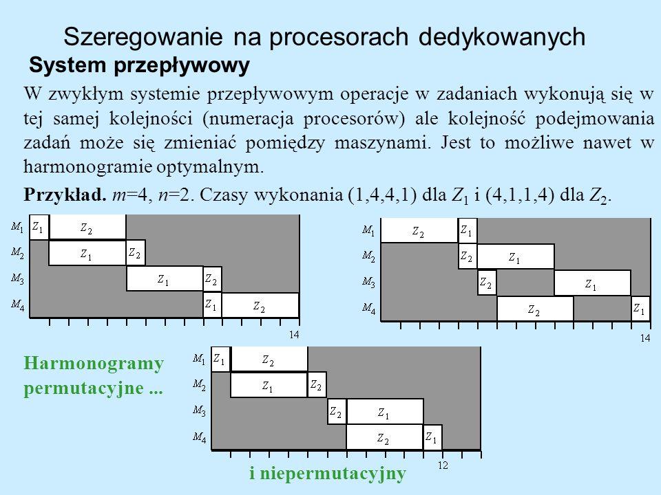 Szeregowanie na procesorach dedykowanych System przepływowy W zwykłym systemie przepływowym operacje w zadaniach wykonują się w tej samej kolejności (