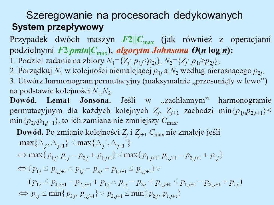Szeregowanie na procesorach dedykowanych System przepływowy Przypadek dwóch maszyn F2  C max (jak również z operacjami podzielnymi F2 pmtn C max ), al
