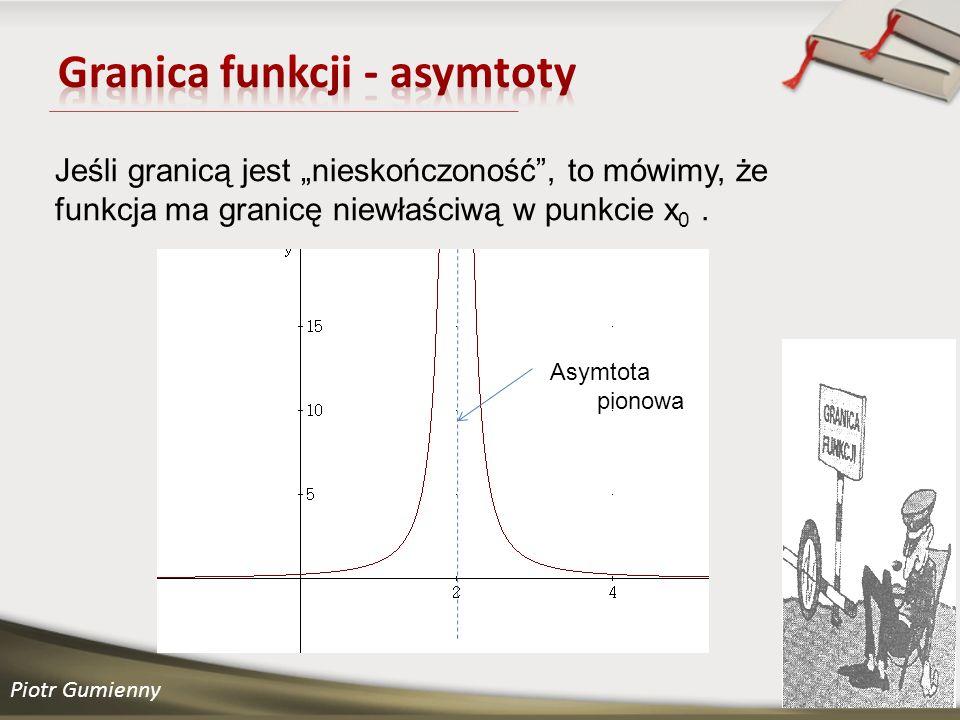 Piotr Gumienny Jeśli granicą jest nieskończoność, to mówimy, że funkcja ma granicę niewłaściwą w punkcie x 0.