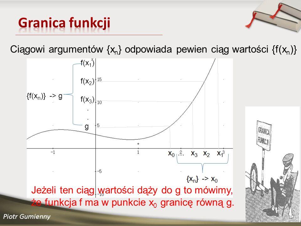 Piotr Gumienny Ciągowi argumentów {x n } odpowiada pewien ciąg wartości {f(x n )} f(x 1 ) f(x 2 ) f(x 3 ).