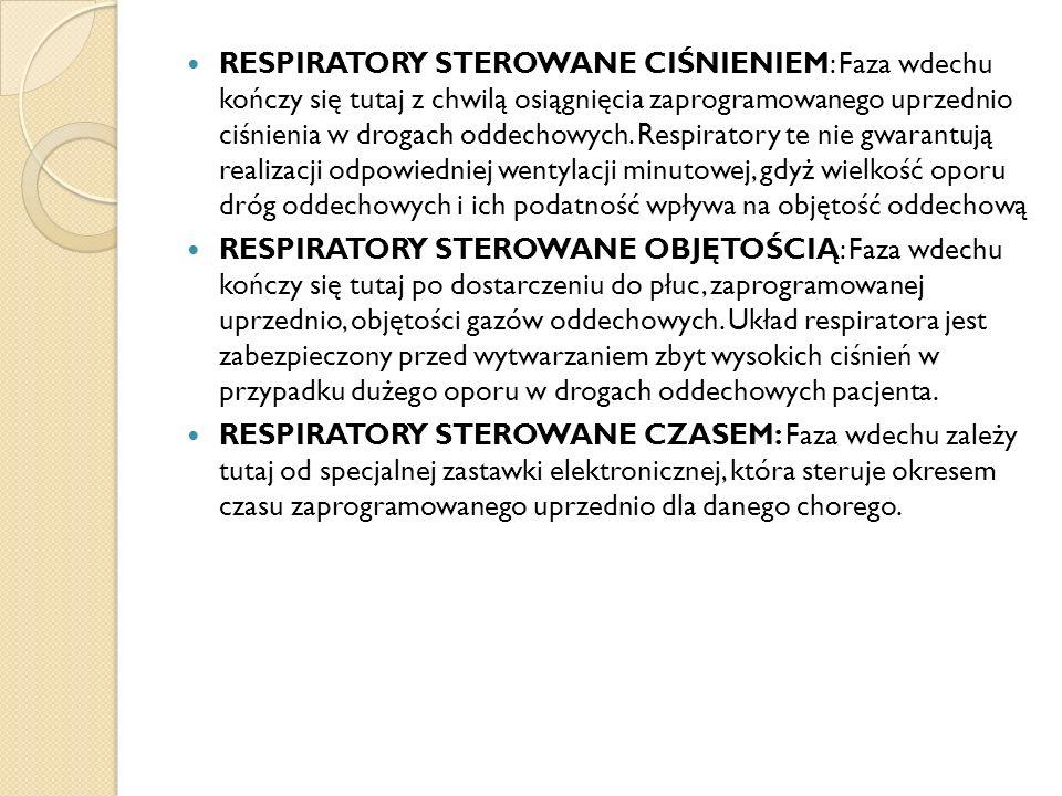RESPIRATORY STEROWANE CIŚNIENIEM: Faza wdechu kończy się tutaj z chwilą osiągnięcia zaprogramowanego uprzednio ciśnienia w drogach oddechowych. Respir
