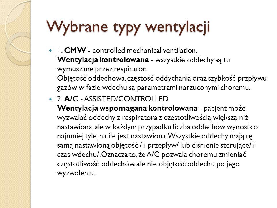 Wybrane typy wentylacji 1. CMW - controlled mechanical ventilation. Wentylacja kontrolowana - wszystkie oddechy są tu wymuszane przez respirator. Obję