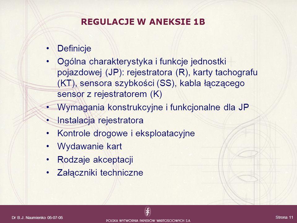 Dr B.J. Naumienko 05-07-05 Strona 11 Definicje Ogólna charakterystyka i funkcje jednostki pojazdowej (JP): rejestratora (R), karty tachografu (KT), se