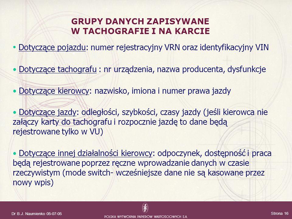 Dr B.J. Naumienko 05-07-05 Strona 16 Dotyczące pojazdu: numer rejestracyjny VRN oraz identyfikacyjny VIN Dotyczące tachografu : nr urządzenia, nazwa p