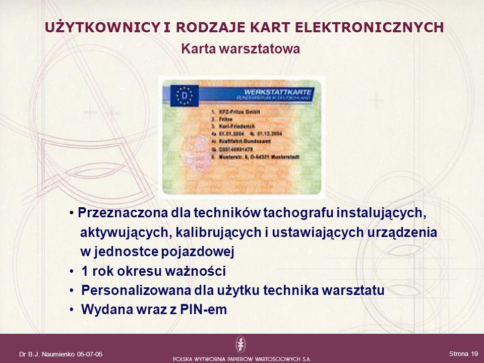 Dr B.J. Naumienko 05-07-05 Strona 19 Przeznaczona dla techników tachografu instalujących, aktywujących, kalibrujących i ustawiających urządzenia w jed
