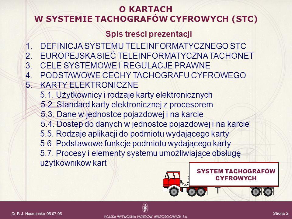 Dr B.J. Naumienko 05-07-05 Strona 2 Spis treści prezentacji 1.DEFINICJA SYSTEMU TELEINFORMATYCZNEGO STC 2.EUROPEJSKA SIEĆ TELEINFORMATYCZNA TACHONET 3