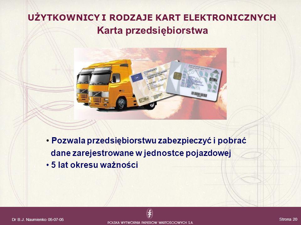 Dr B.J. Naumienko 05-07-05 Strona 20 Pozwala przedsiębiorstwu zabezpieczyć i pobrać dane zarejestrowane w jednostce pojazdowej 5 lat okresu ważności K