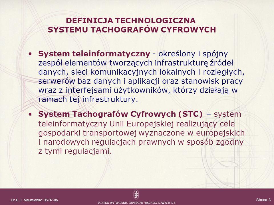 Dr B.J. Naumienko 05-07-05 Strona 3 System teleinformatyczny - określony i spójny zespół elementów tworzących infrastrukturę źródeł danych, sieci komu