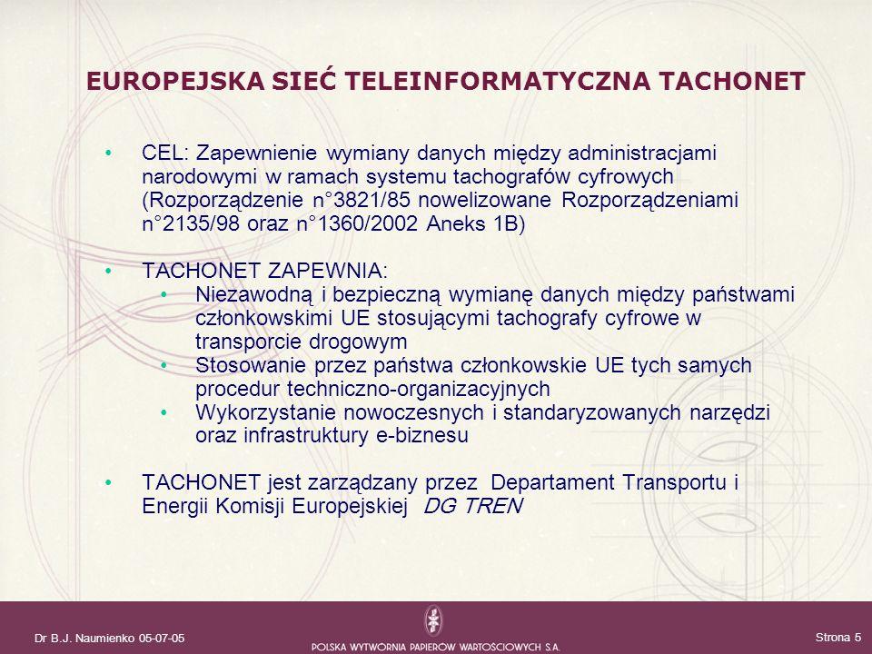 Dr B.J. Naumienko 05-07-05 Strona 5 CEL: Zapewnienie wymiany danych między administracjami narodowymi w ramach systemu tachograf ów cyfrow ych ( Rozpo