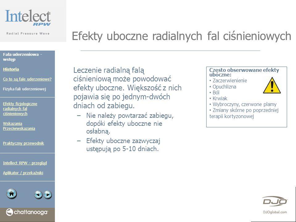 Efekty uboczne radialnych fal ciśnieniowych Leczenie radialną falą ciśnieniową może powodować efekty uboczne. Większość z nich pojawia się po jednym-d