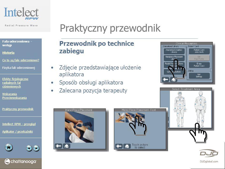 Praktyczny przewodnik Przewodnik po technice zabiegu Zdjęcie przedstawiające ułożenie aplikatora Sposób obsługi aplikatora Zalecana pozycja terapeuty