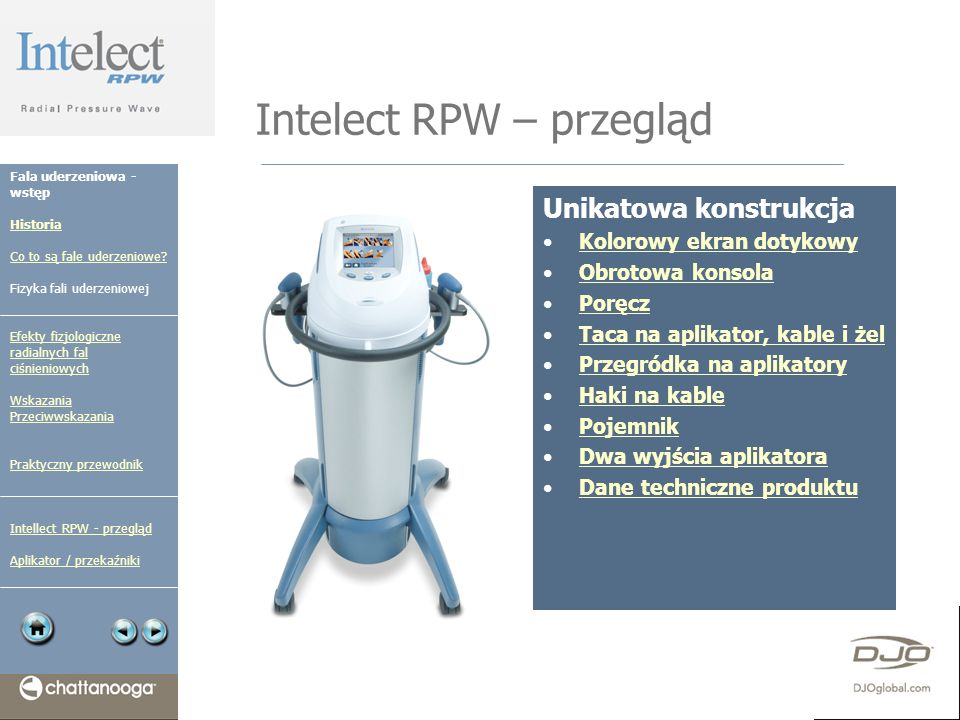 Intelect RPW – przegląd Unikatowa konstrukcja Kolorowy ekran dotykowy Obrotowa konsola Poręcz Taca na aplikator, kable i żel Przegródka na aplikatory