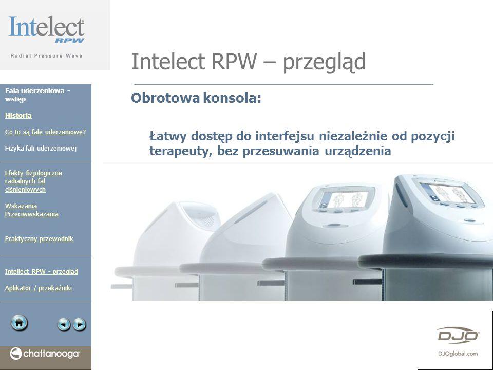 Intelect RPW – przegląd Obrotowa konsola: Łatwy dostęp do interfejsu niezależnie od pozycji terapeuty, bez przesuwania urządzenia Fala uderzeniowa - w