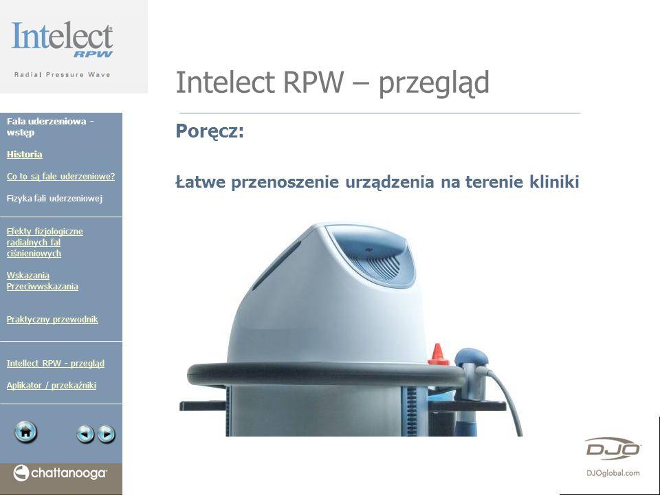 Intelect RPW – przegląd Poręcz: Łatwe przenoszenie urządzenia na terenie kliniki Fala uderzeniowa - wstęp Historia Co to są fale uderzeniowe? Fizyka f