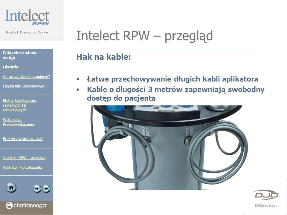 Intelect RPW – przegląd Hak na kable: Łatwe przechowywanie długich kabli aplikatora Kable o długości 3 metrów zapewniają swobodny dostęp do pacjenta F